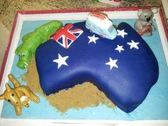 Australia cake with koala, croc a.nd kangaroo Australia Cake, Kangaroo, Kids Rugs, Cakes, Baking, Desserts, Animals, Food, Design