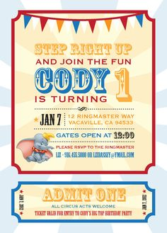 Dumbo Circus Personalized Birthday Invitation - PRINTABLE- Digital File. $18.00, via Etsy.