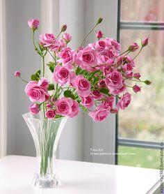 Polymer clay handmade roses. Купить Кустовые розовые розочки из полимерной глины. Керамическая флористика. - розовый, розы