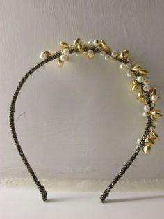 Pearlescent Beads & Golden Hearts Headband by atLittleParis, HKD103.00