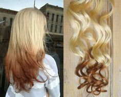 Reverse Ombre Hair Blonde To Brown   Reverse Ombre Hair Extensions, Ombre clip in hair extensions, brunette ...