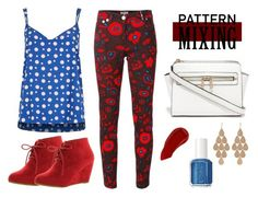 """""""Pattern Mixing: Floral and Polka Dots (#2)"""" by onewithbirds ❤ liked on Polyvore featuring Kenzo, River Island, ANNA, Ellis Faas, Essie, Irene Neuwirth, redwhiteandblue, patternmixing and floralandpolkadots"""
