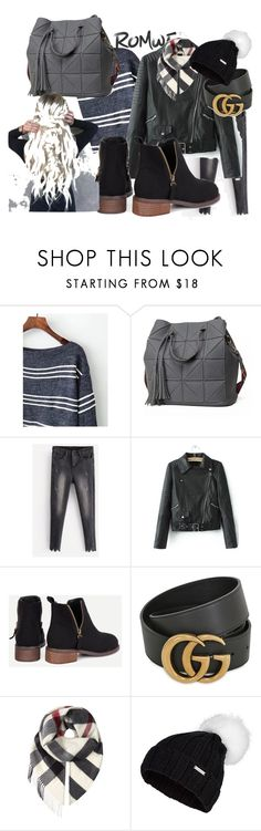 """""""Boat Neck Striped Knitwear"""" by almedina-mujic ❤ liked on Polyvore featuring Gucci, Burberry and Sweaty Betty"""