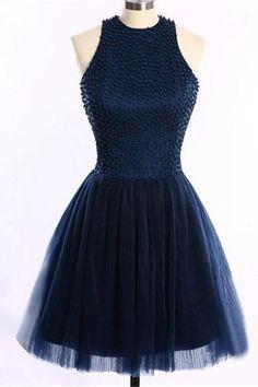 Navy Blue Short Handmade Halter Beading Homecoming Dresses,Homecoming