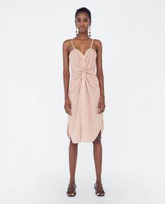 Zara Checked Dress With Knot Detail Zara Australia, Vestidos Zara, Weekend Dresses, Knot Dress, Check Dress, Summer Wardrobe, Capsule Wardrobe, Zara Dresses, Simple Outfits