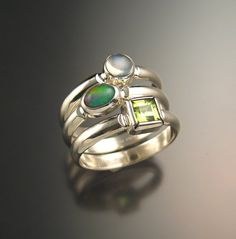 Stackable Mothers ring set of Three rings Made to order in your size Sterling Silver Birthstone rings