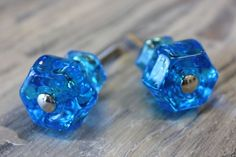 Blue Hex Glass Knobs available at Interiors To Inspire in Calgary, Alberta Canada. Click on the image above to shop our online store.