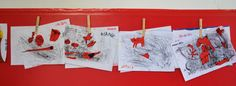 Monotype & collage made by kids in playroom of the County Library in La Maddalena island, Sardinia, Italy. Curated by ARTincorpo/Stefania Missio