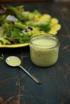 Salad Dressing | 500 g fat-free natural yoghurt sea salt freshly ground black pepper 2 teaspoons English mustard a small bunch of green and purple basil or coriander 1 clove of garlic, peeled ½ a fresh red chilli 2 tablespoons white wine or cider vinegar juice of ½ lemon
