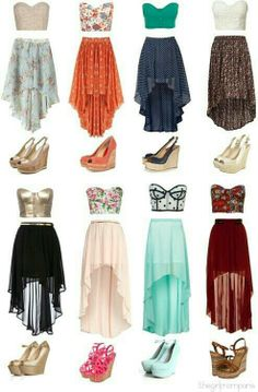 High-Low Skirts with Crop Tops and Wedges