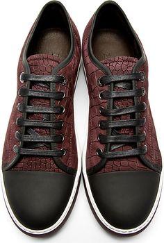 Lanvin Burgundy Croc-Embossed Suede Sneakers