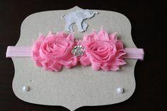 Shabby Chic Pink Headband with Rhinestone on Light Pink Elastic - Newborn Photo Prop, Newborn Headband, Baby Headband, Hair Accessories