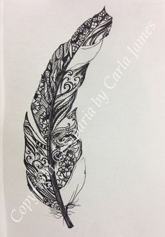 Feather drawing on Etsy, £20.00