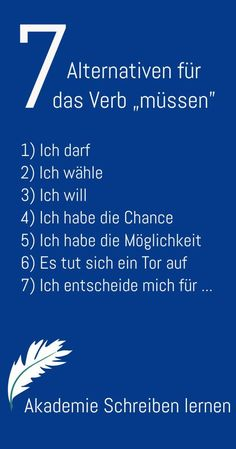 """So verwandelst du die Wirkung des """"müssen"""" und bringst damit eine ander… So you transform the effect of """"have to"""" and bring with it another in your The Words, Vocabulary Exercises, German Language Learning, Learn German, Math Activities, Good To Know, Affirmations, Coaching, Self"""