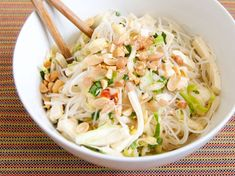 Vegetarian recipe: Spicy Rice Noodle Salad with Cabbage and Tofu