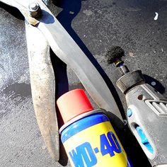 Clean and polish the garden shears with an abrasive buffing accessory to remove rust and restore shine. I prefer to use WD-40 when sharpening or cleaning. It cleans and lubricates at the same time and also extends the life to the grinding stones.
