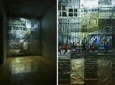 Shimura Nobuhiro Video projection on the aluminum foill modeled on the tiles, Silent, Installation view at Yokohama Civic Art Gallery Azamino