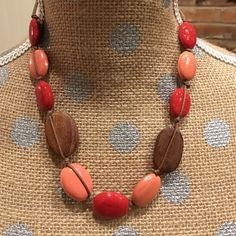 FREE* Coral/rust/wood necklace *FREE with minimum $40.00 purchase, after bundle discount. Jewelry Necklaces