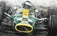 JIM CLARK LOTUS F1 ART ROTONDO RACING ARTWORK PRINT LITHOGRAPH COSWORTH