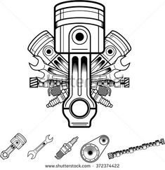 Engine parts in retro style