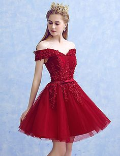 Off the Shoulder Red Short Homecoming Dress with Appliques, Short Prom Dress, Tulle Party Gown Short Red Prom Dresses, Prom Dresses 2017, Cheap Bridesmaid Dresses, Quinceanera Dresses, Formal Dresses, Short Prom, Wedding Dresses, Dresses Dresses, Wedding Bridesmaids