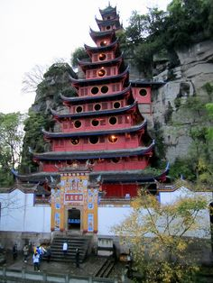 Shibaozhai  is a hill along the bank of the Yangtze River (Chang Jiang) in Zhong County,  .The temple was built without even a single nail.I climbed to the top lookout point 98' and 95% humidity. Beautiful and amazing place to see!!!