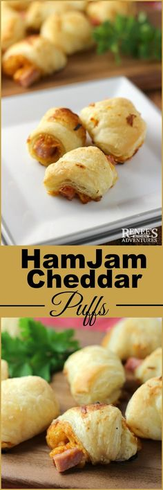 HamJam Cheddar Puffs are easy-to-make savory-sweet snacks or appetizers made with frozen puff-pastry dough, tangy mustard, sharp cheddar cheese, ham and a sweet jam. Easy Appetizer Recipes, Yummy Appetizers, Snack Recipes, Cooking Recipes, Snacks, Tailgating Recipes, Pastry Recipes, Thanksgiving Recipes, Fall Recipes