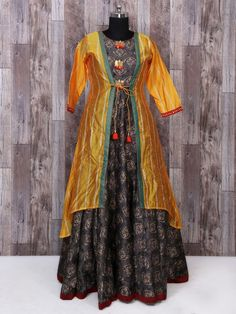 Shop Brown and yellow color jacket style gown style dress online from G3fashion India. Brand - G3, Product code - G3-WSS10040, Price - 6760, Color - Brown, Yellow, Fabric - Silk,