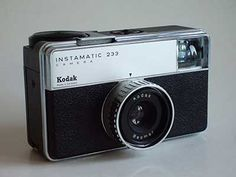 Kodak Instamatic 233, with battery powered rotating flash cubes. From the third European series.