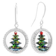 Capture the spirit of Christmas with these elegant and enchanting holiday earrings. A snowy white Swarovski crystal pave thread ring surrounds a vibrant crystal Christmas tree while silver filled findings complete the look.
