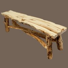 "Have a look at our brand new ""Grizzly Aspen"" log bench. Handcrafted in the USA. http://www.logcabinrustics.com/log-furniture-aspen-foot-bench-sig.html"