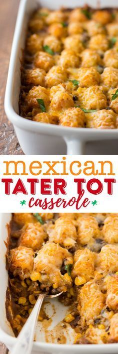 Mexican Tater Tot Casserole Recipe - This easy taco tater tot casserole is a great family dinner idea that even your kids will love!