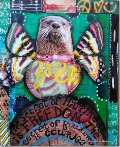 Animals in my Art Journals!- Otter with wings.