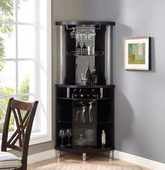 Corner Bar Unit Wine Storage Home Pub Rack Cabinet Glass Black Bar Interior, Interior Design, Bar Furniture For Sale, Furniture Ideas, Dining Furniture, Royal Furniture, Furniture Companies, Corner Bar Cabinet, Corner Home Bar