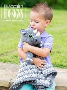 Ravelry: Riley Rhino the Rhinoceros Snuggle Blankey Lovey Blanket PDF Crochet Pattern pattern by Ira Rott Crochet Security Blanket, Crochet Lovey, Crochet Amigurumi, Love Crochet, Crochet Blanket Patterns, Baby Blanket Crochet, Crochet For Kids, Crochet Dolls, Single Crochet