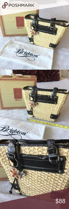 """Authentic Brighton Woven Tote Authentic 💕 Lovely woven tote from Brighton 💕 Zip top closure w/ pocket inside. Approximately (not exact) 12"""" x 8 1/2"""" x 4"""" Strap drop is about 9 1/2"""" In very good condition. Box and dust bag included. NO TRADE ❌ Brighton Bags"""