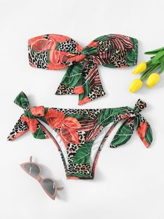 dad8d2ce90c Random Leopard & Tropical Twist Bandeau Bikini Set Trends of Summer 2019 -  Best New Swimsuits Spring/ Summer 2019 Swimwear Trends: Summer 2019