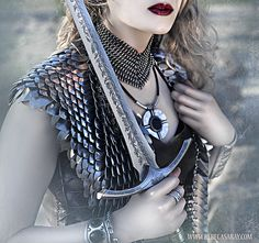 an amazing set of silver scalemail vest with an amazing chainmail collar