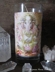 Ganesh Reiki Empowered Spiritual Altar Meditation Candle With Tibetan Black Quartz