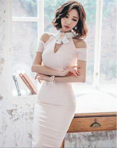 Charming Lady Off Shoulder Flower Doll Collar Skinny Dress_Fcplaza.com
