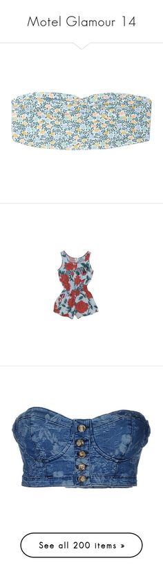 """""""Motel Glamour 14"""" by ladyequestria ❤ liked on Polyvore featuring tops, bras, underwear, bandeaus, print perfection, blue print top, see through tops, print shirts, blue shirt and blue sheer shirt"""