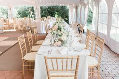 Pastel Garden Inspired Leesburg Wedding - United With Love | Alicia Lacey Photography | White Wedding Table Decor with White and Blush Low Centerpieces and Gold Accents