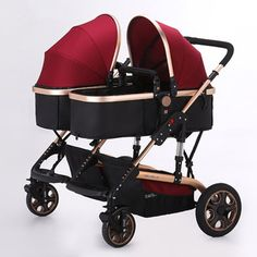 208.15$ Buy now - http://ali1fz.worldwells.pw/go.php?t=32757787957 - Baby Stroller Twins Stroller Golden Color Frame High Landscape Children Stroller 2 Seats Strollers