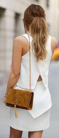 Saint Laurent Camel Suede Shoulder Bag by Annette Haga