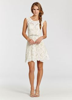 Ivory lace over champagne Charmeuse short dress. Sheer bateau neckline and low open back. Jeweled crystal applique on ribbon and natural waist. Bridal Gowns, Wedding Dresses from Ti Adora by Alvina Valenta - JLM Couture - Bridal Style 7503 by JLM Couture, Inc.