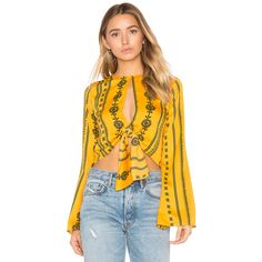 House of Harlow 1960 x REVOLVE Jane Blouse ($98) ❤ liked on Polyvore featuring tops, blouses, fashion tops, bell sleeve tops, flared sleeve top, tie top, flared sleeve blouse and bell sleeve blouse