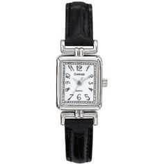 Carriage by Timex Women's Silver-Tone Watch, Black Leather Strap
