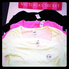 New! PINK 3 shirt summer bundle! 3 shirts All new with tags All size medium Long length Loose fit PINK Victoria's Secret Tops