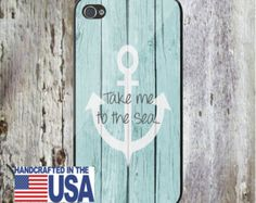 Take Me to the Sea Anchor on Wood Nautical Personalized Phone Case -Choice of Color-  iPhone 5 iPhone 5S iPhone 5C iPod iPhone 4/4S iPhone 6