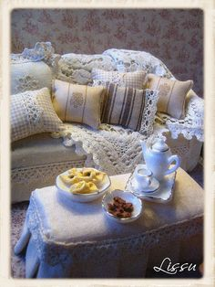 "Extra touches complete the vignette! Beautiful miniature furniture.couch with ""blanket"" and pillows for shabby chic dollhouse"